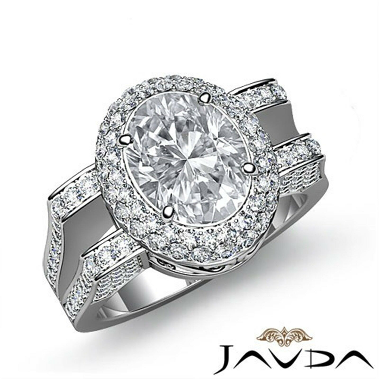 2.17ctw Gala Halo Split Shank Oval Diamond Engagement Ring GIA D-VS2 White Gold