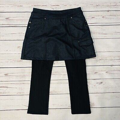 1 Cropped Skort Leggings XXS Denim Look Black 919175 (Skort Leggings)