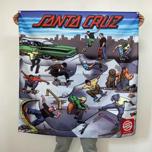 Santa Cruz Banner Skateboards Team Demo Tour Tapestry Logo Flag Art Poster 4x4ft