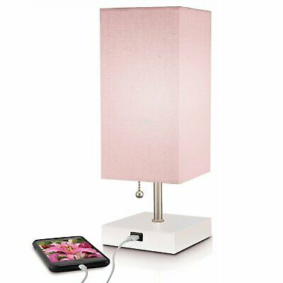 Modern Pink Table Lamp with Quick charge USB Port