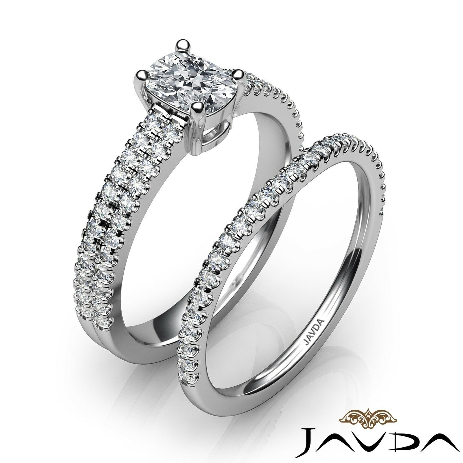 1.54ctw Bridal Scalloped Pave Cushion Diamond Engagement Ring GIA G-SI1 W Gold 2