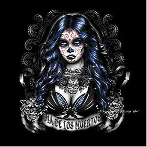 tee shirt tatouage dia de les morts flash sugar cr ne mexicain style 1042 ebay. Black Bedroom Furniture Sets. Home Design Ideas