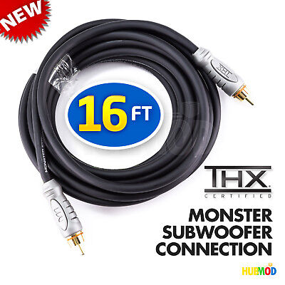 Monster THX Certified 16 Ft Subwoofer Connection Cable THXI100SW-16 24K PLATED