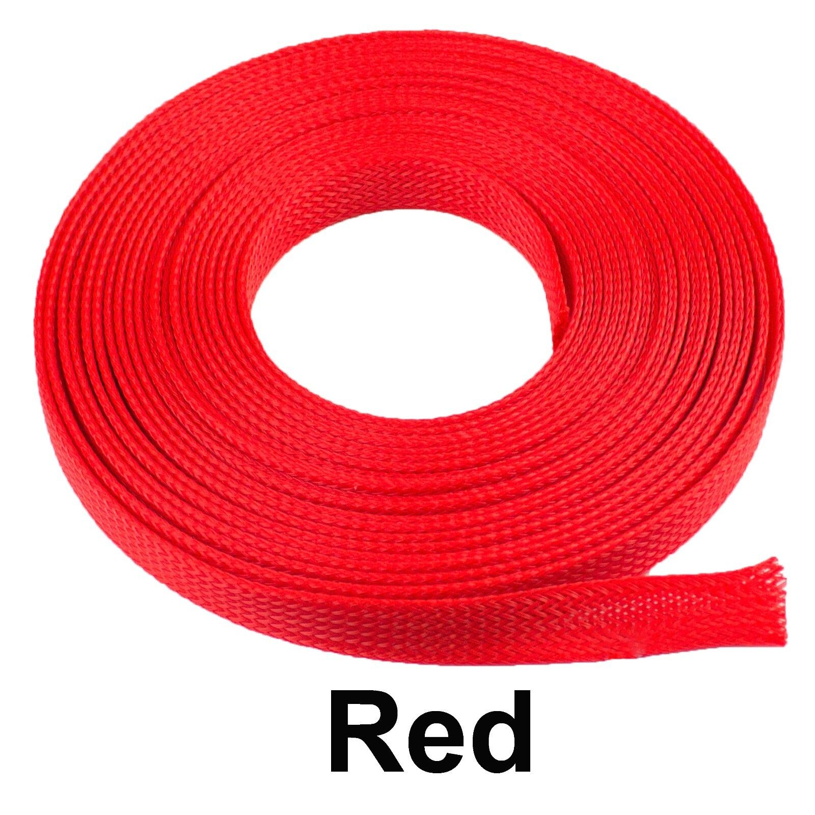 ALL SIZES & COLORS 5' FT - 100 Feet Expandable Cable Sleeving Braided Tubing LOT Red