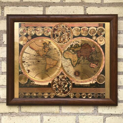 """Gold Foil Wall Globe World Map In Oak Wooden Frame 23"""" x 19"""" Hanging Wire"""