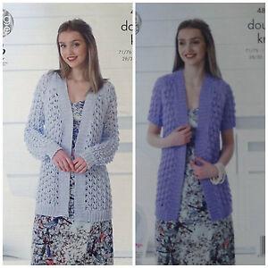 KNITTING PATTERN Ladies Long or Short Sleeve Long Lacy Cardigan Cotton DK 4837