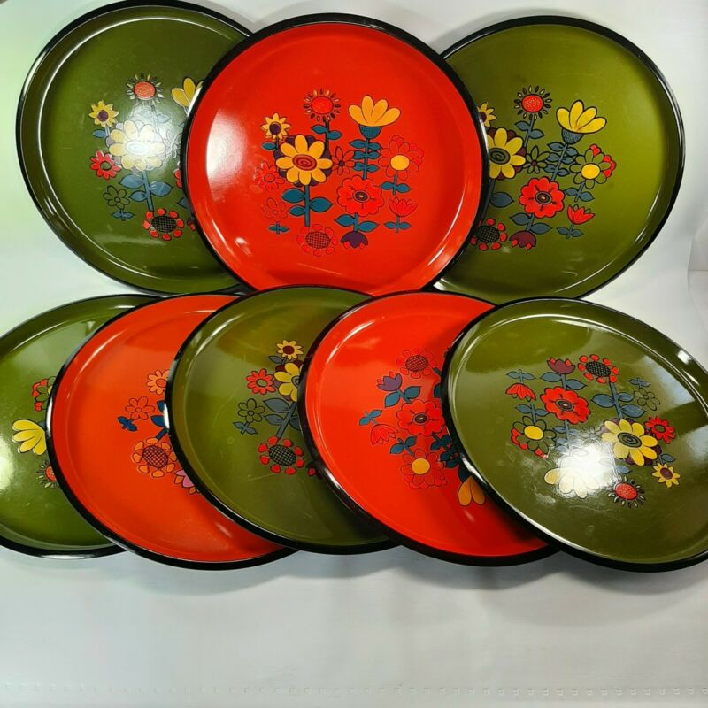 "Retro Set Of 8 Plastic Trays Flower Power Mod Orange Avocado Green 13"" Round"