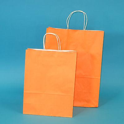 Orange Papiertüten (350 Papiertragetaschen Papiertüten mit Kordel 80g 26+12x35cm Apricot / Orange)