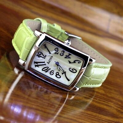Womens ACTIVA Mother of Pearl Silver Tonneau Leather Band Watch