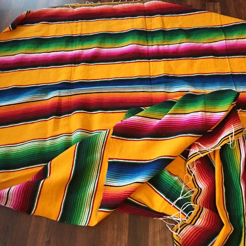 """Vtg Artilana Mexican Throw Blanket 58"""" x 86"""""""