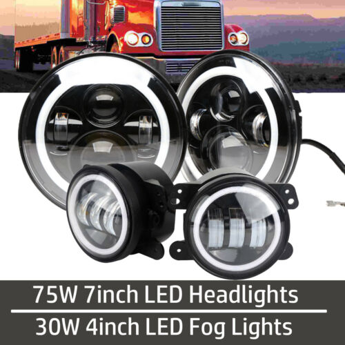 """For Freightliner Century 7Inch 75W Led Headlight 4Pack 4/"""" 30W LED Fog Lights"""