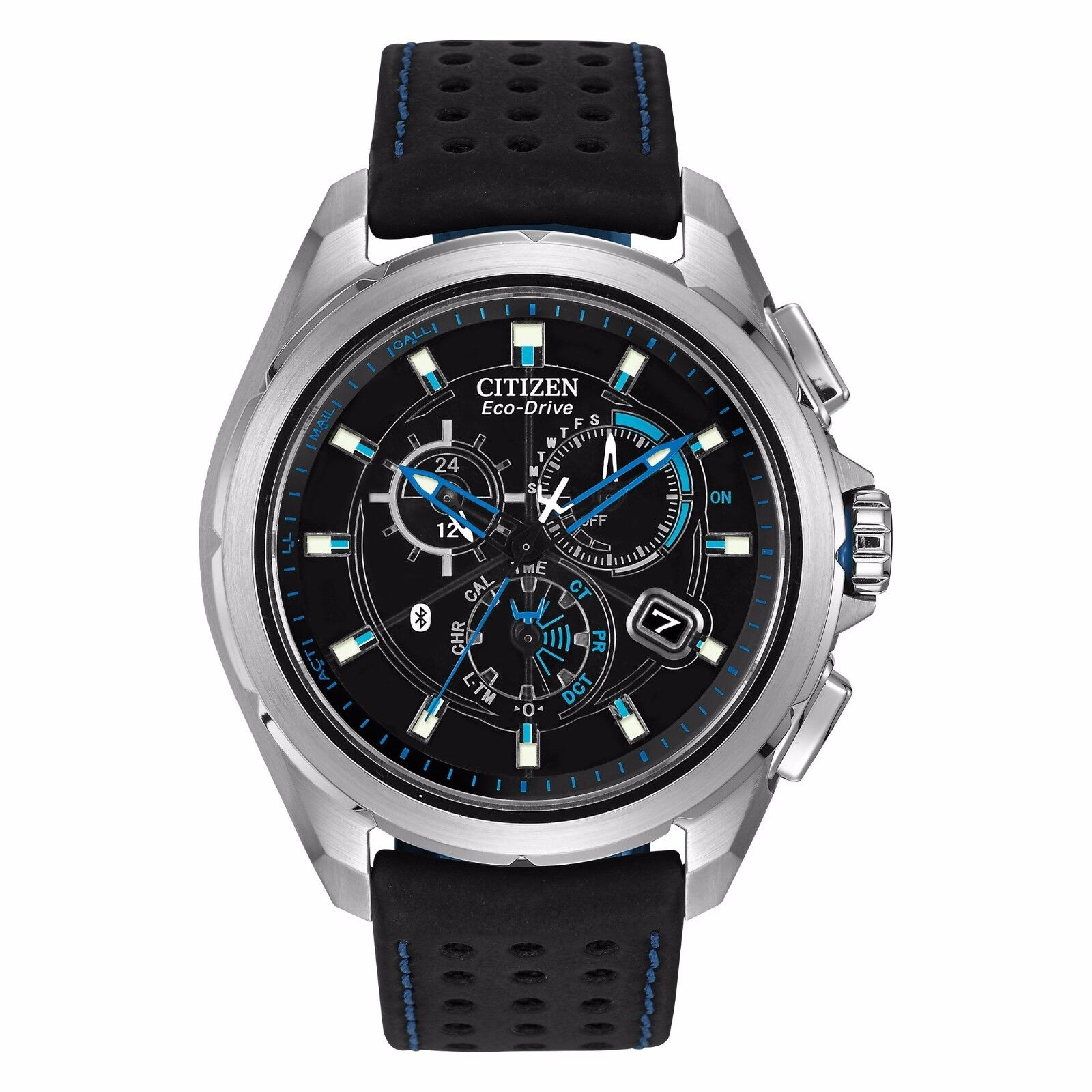 Citizen Eco-Drive Men's AT7030-05E Proximity Bluetooth Black Leather Strap Watch