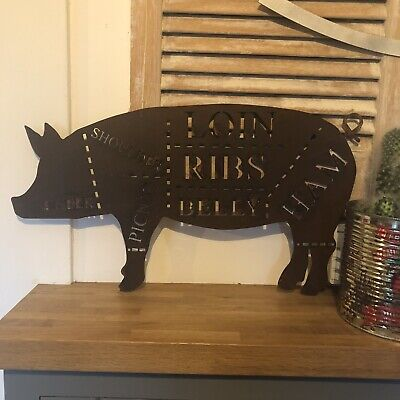 PIG Sign Rusty Metal Home BBQ Kitchen rustic house shabby chic butchers cuts