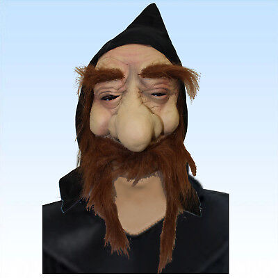 Maske Zauberer Halloween Magier Hexer alter Mann Merlin Zauberei Magie Vollmaske ()