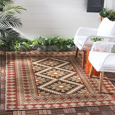 Red Floral Outdoor Rug (Red/ Natural Modern Indoor / Outdoor Floral Area Rug -)