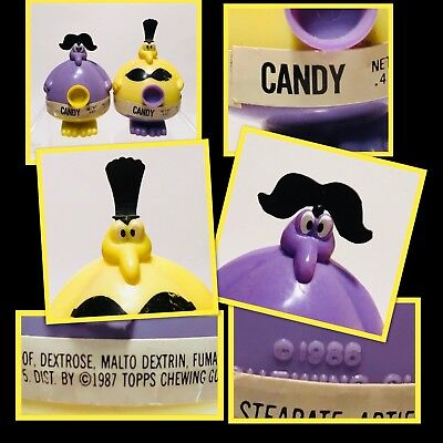 2 Vintage PURPLE 1987 Topps MARRIED MR & MRS PLUGGO Candy Containers SO CUTE!