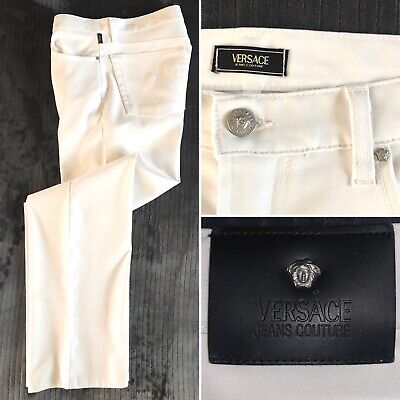 Versace Jeans Couture Italy Medusa White 5 Pocket Stretch Jeans Pants 36 x 31