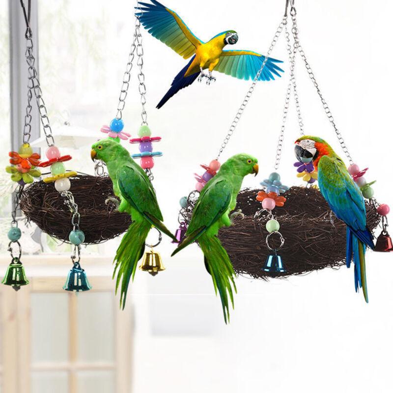 Pet Nest Hammock Swing Hanging Chew Toys Parrot Parakeet Budgie Cockatiel US