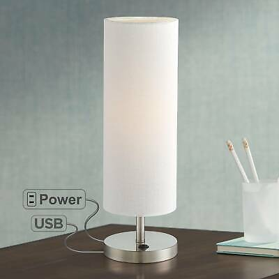 Living Room Steel Accent Table (Modern Accent Table Lamp with USB Outlet Brushed Steel for Bedroom Living Room )