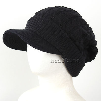 323f6705a0a brim BEANIE visor man woman top winter Hats Unisex ski snowboard Cap NwB  black