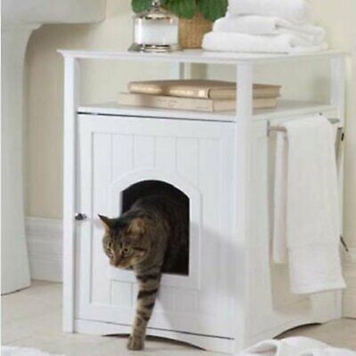 Zooville Cat Washroom Litter Box Cover / Night Stand Pet House, White Merry Products Cat Washroom