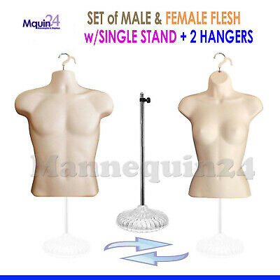 2 Mannequins 1 Stand 2 Hangers- Male Female Flesh Form Displays Shirt Dress