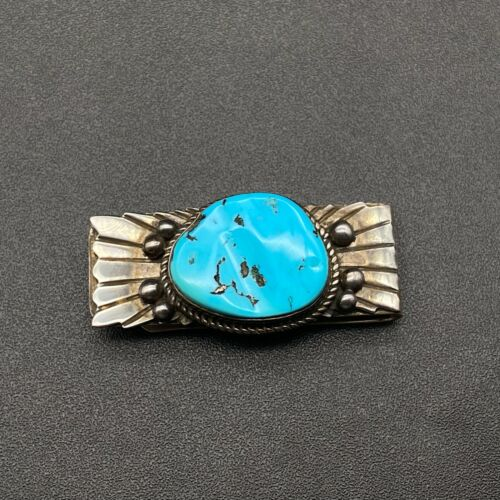 Vintage Southwestern Turquoise Sterling Silver Money Clip
