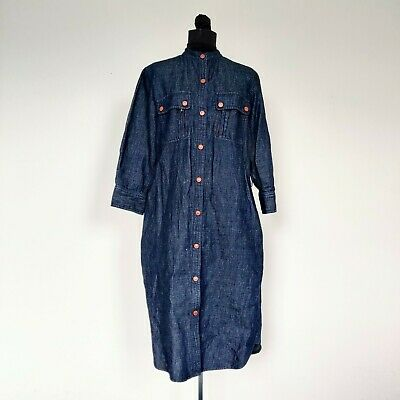 Ralph Lauren Jeans Co Copper Snap Denim Shirt Dress 8
