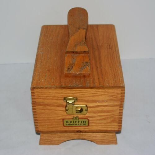 Griffin Shinemaster Shoe Shine Wooden Box - Blonde Wood Vintage
