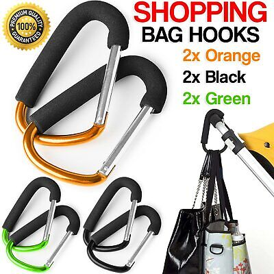 2X BUGGY CLIPS COLOURED LARGE PRAM PUSHCHAIR SHOPPING BAG CLIP MUMMY CARRY HOOK