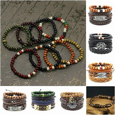 - Fashion Men Women Boho Genuine Leather Bracelet Braided Wood Bangle Wristband