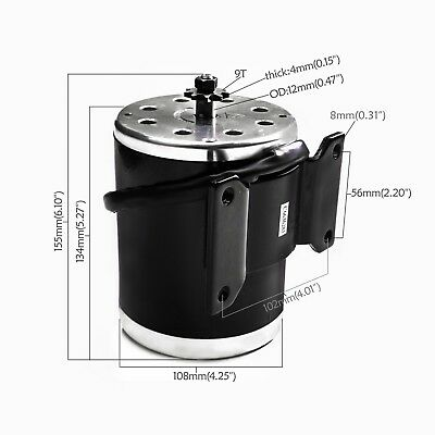 500w 24v Dc Brushed Electric Motor 9t Base For Scooter Gokart Minibike Atv