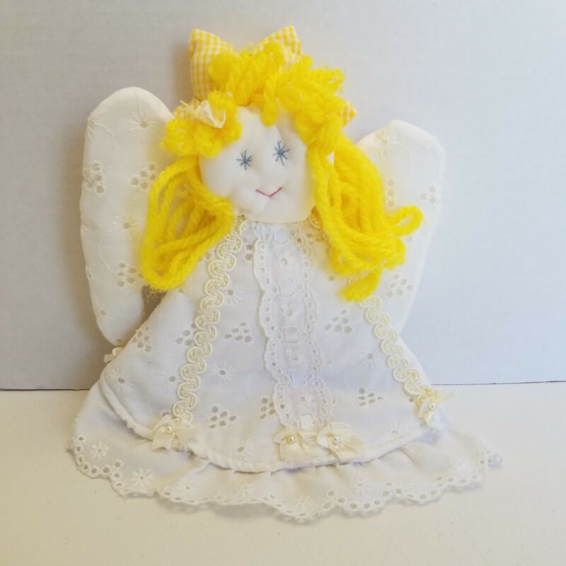 """VTG Cloth Hand Made Retro Blonde Hair Angel Christmas Tree Topper 9"""" Stitched"""