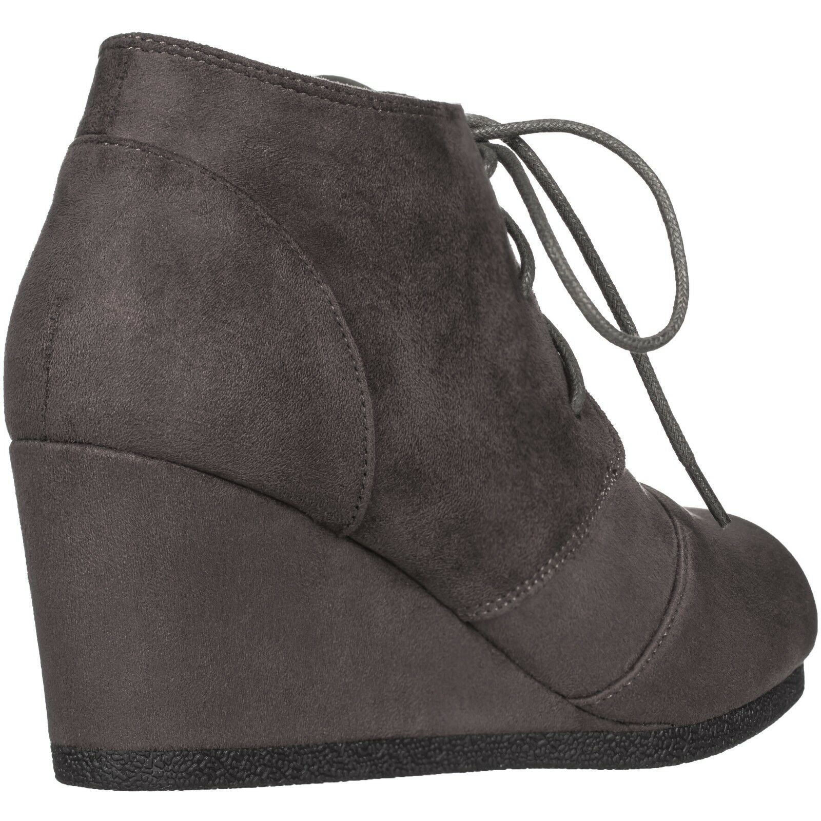 New Women's Round Toe Lace Up Wedge Heels Suede Ankle Boots Booties [WITH BOX]