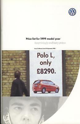 Volkswagen Price List For 1999 Model Year GTi, VR6, V5