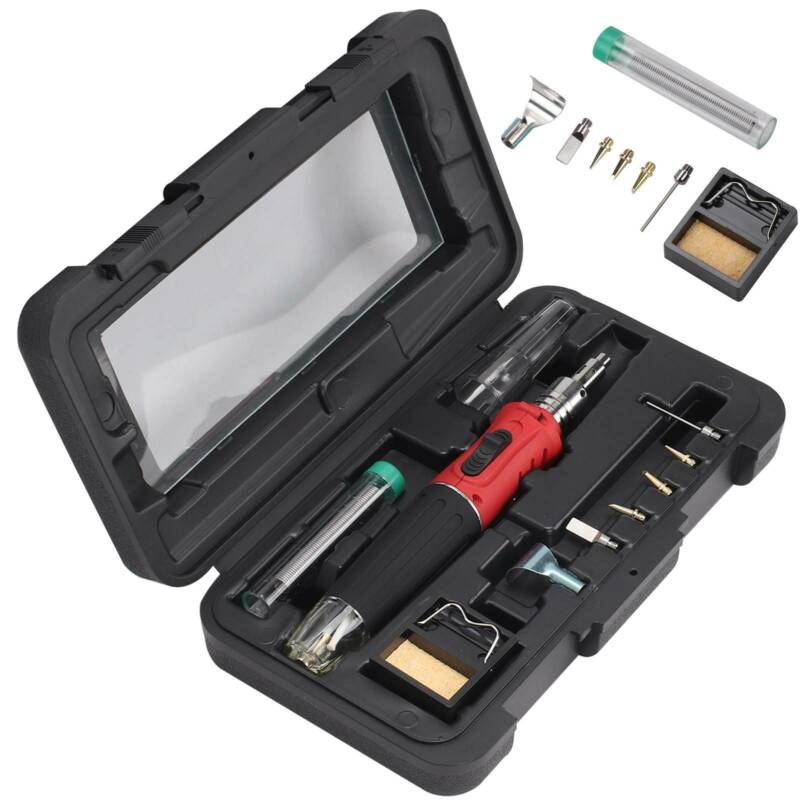 Soldering Iron Kit Professional Gas Butane Auto Ignition Torch With Plastic Case