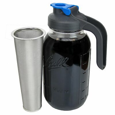 Mason Jar Cold Brew Coffee Maker with Handle Lid - 2 Quart C