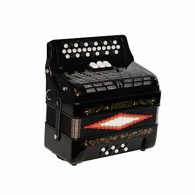 Baronelli 34 Button Accordion 12 Bass, 3 Switch, GCF, With Staps And Case, Black