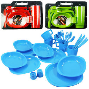 Large Plastic Picnic Set Camping Party Dinner Plate Set Mug & Cutlery 26 Pieces