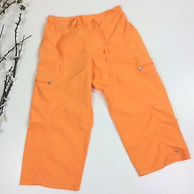Athletic Works Women Size M 8-10 Neon Orange Cropped Capri Nylon Pants 4G Trail
