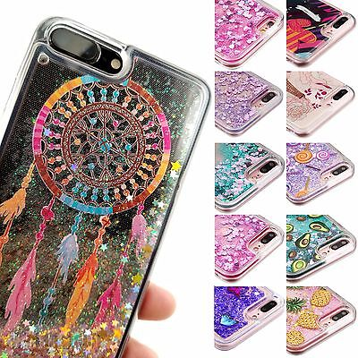 Bling Hybrid Liquid Glitter Rubber Protector Case Cover For iPhone 7 8 Plus