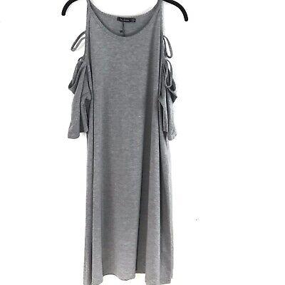 Boohoo Womens Dress Plus Ada Open Shoulder Strappy Swing Grey Marled Size US 16