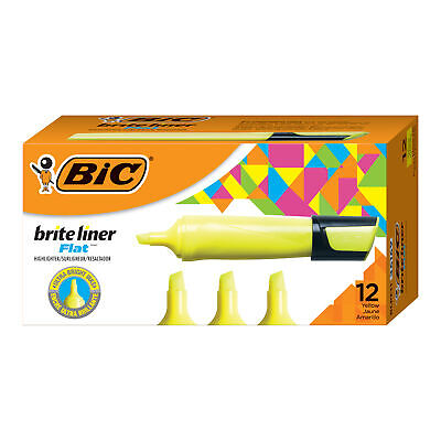 Bic Brite Liner Flat Highlighter Chisel Tip Yellow 12-count