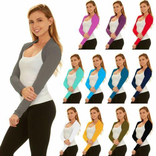 Women Bolero Long Sleeve Shrug Crop Top Coat Cardigan Jacket