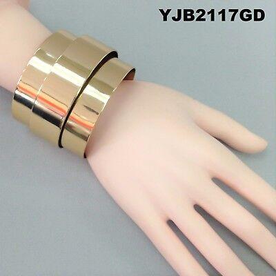 Designer Inspired Cuff Bracelet - Designer Inspired Gold Finish Double Open Cuff Wrist Elegant Bangle Bracelet