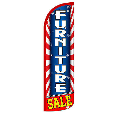 Windless Swooper Feather Flag Tall Banner Sign Only 3 Wide Furniture Sale Red