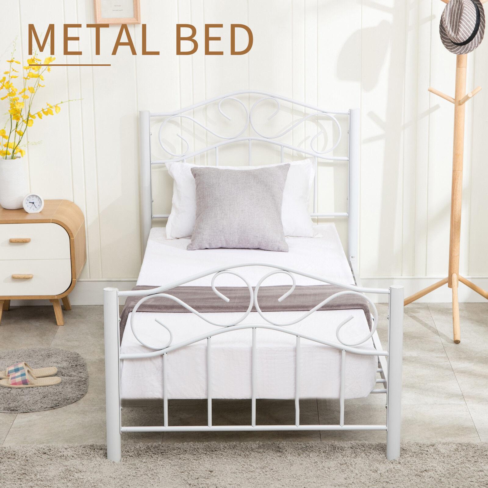 Twin Size Heavy Duty Metal Bed Frame Headboard Footboard Bedroom ...