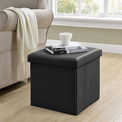 [en.casa] Sitzhocker schwarz 38x38x38cm Sitzwürfel Aufbewahrungsbox Hocker Truhe