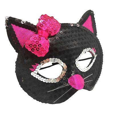 Mädchen Hexen Schwarze Katze Pailletten Schleife Augenmaske Maske Kostüm Tier