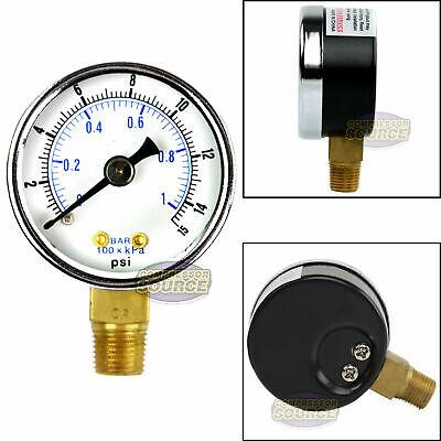 18 Npt Air Pressure Gauge 0-15 Psi Side Mount 1.5 Face